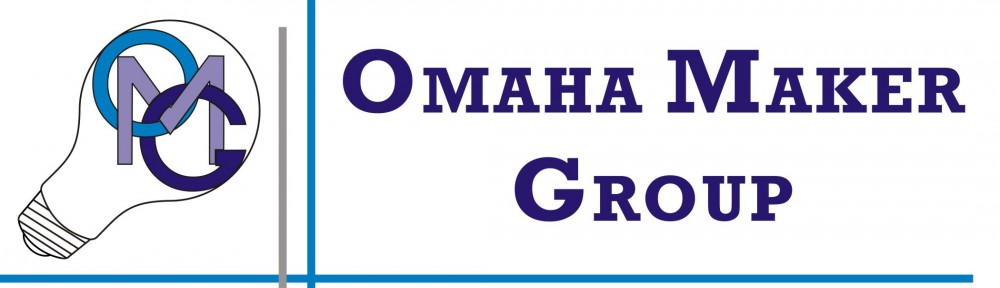 "Omaha Maker Group's logo of a light bulb surrounding the letters, ""O"", ""M"" and ""G""."